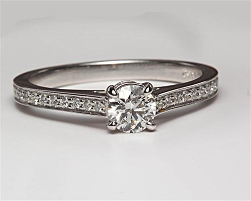 White Gold 0.44 Round cut Pave Engagement Rings