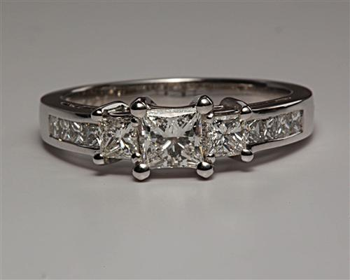 White Gold 0.51 Princess cut Diamond Ring With Side Stones
