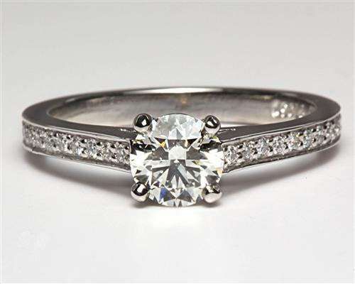 Platinum 0.70 Round cut Pave Ring Settings