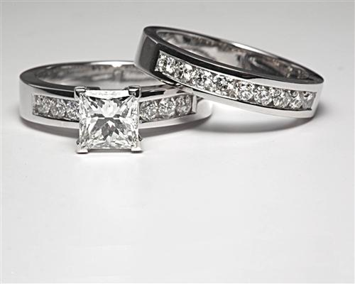 White Gold 1.29 Princess cut White Gold Wedding Sets