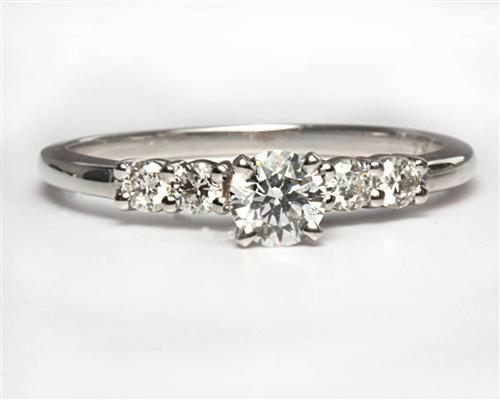White Gold 0.30 Round cut Diamond Ring With Sidestones