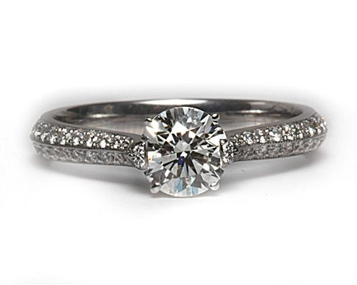 White Gold 0.73 Round cut Micropave Ring