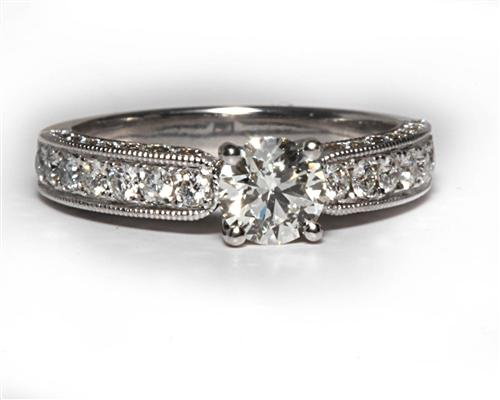 White Gold 0.50 Round cut Pave Ring Setting
