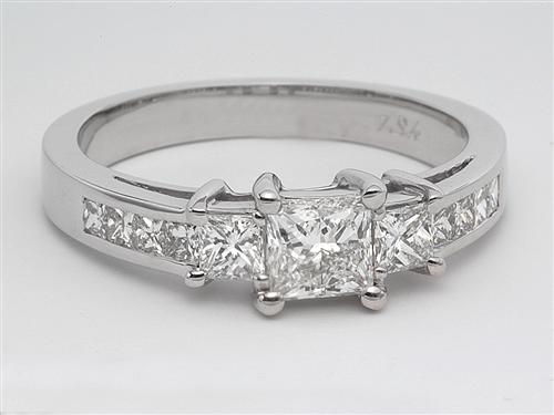 White Gold 0.62 Princess cut Engagement Ring Side Stones