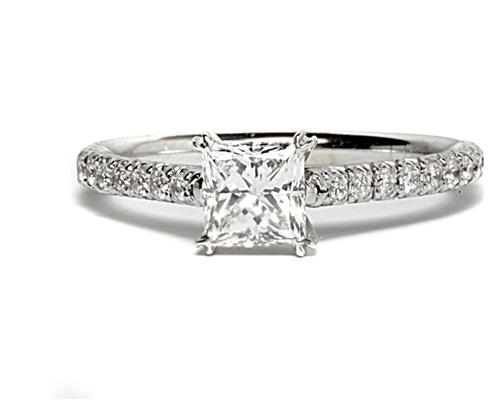 White Gold 0.52 Princess cut Micro Pave Ring