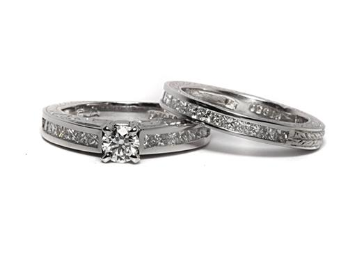 Platinum 0.33 Round cut Bridal Wedding Sets