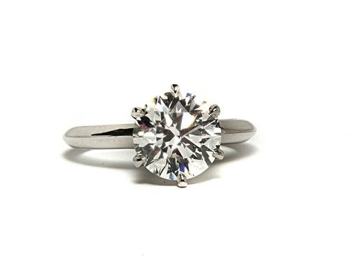 Platinum 2.29 Round cut Solitaire Diamond Ring