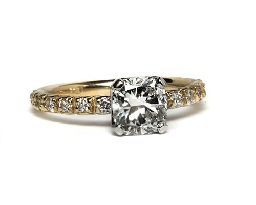 Gold 1.01 Cushion cut Pave Diamond Engagement Rings
