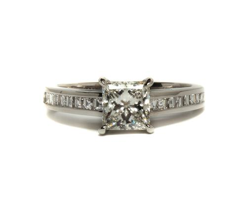 Platinum 1.06 Princess cut Side Stone Engagement Rings