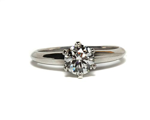 Platinum 0.75 Round cut Solitaire Diamond Rings