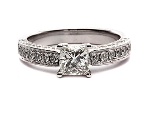 White Gold 0.68 Princess cut Pave Ring
