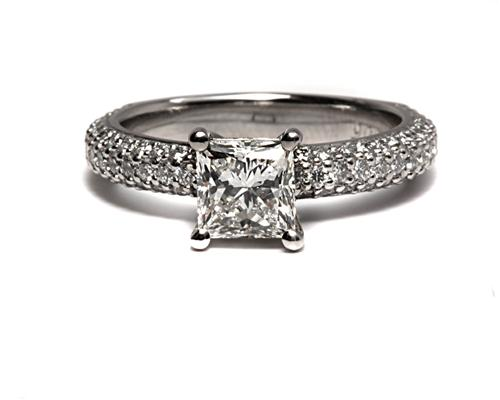 Platinum 1.03 Princess cut Pave Ring Setting