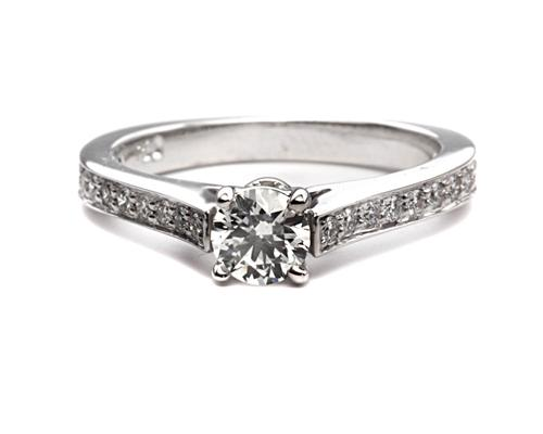 White Gold 0.31 Round cut Pave Diamond Engagement Ring