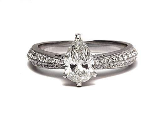 White Gold 1.01 Pear shaped Diamond Pave Ring