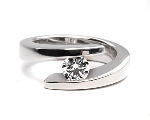 Platinum 0.51 Round cut Engagement Rings