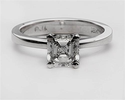 White Gold 1.20 Asscher cut Solitaire Ring Mountings