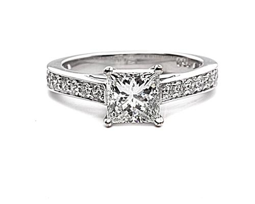 White Gold 1.03 Princess cut Pave Ring Set