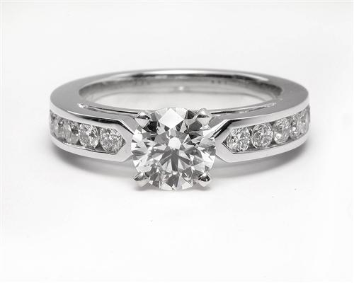 White Gold 1.00 Round cut Engagement Ring With Side Stones