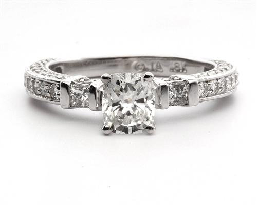 White Gold 0.90 Cushion cut Diamond Pave Ring