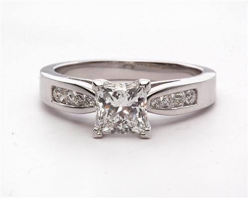 White Gold 1.02 Princess cut Engagement Rings With Sidestones