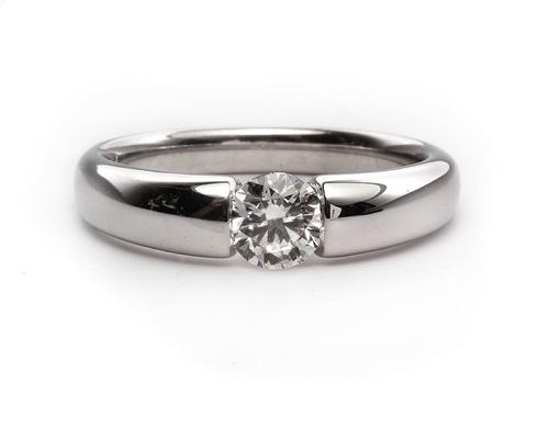 White Gold 0.50 Round cut Diamond Solitaire Engagement Ring