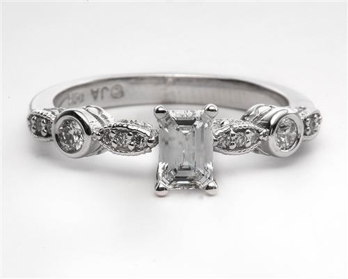 White Gold 0.52 Emerald cut Engagement Ring Settings With Side Stones