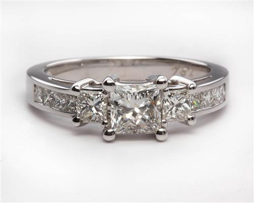 White Gold 0.66 Princess cut Engagement Rings With Sidestones