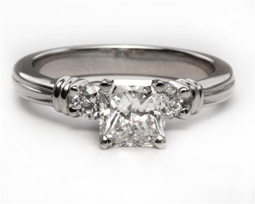 Platinum 0.88 Radiant cut Engagement Ring With Sidestones