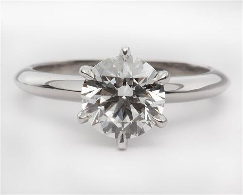 Platinum 1.50 Round cut Solitaire Ring