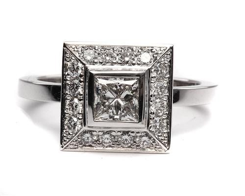 White Gold 0.53 Princess cut Pave Engagement Ring
