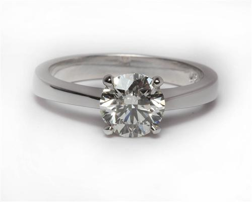 White Gold 0.91 Round cut Round Solitaire Ring