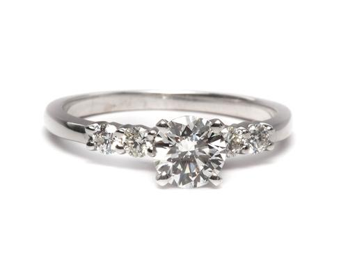 White Gold 0.61 Round cut Engagement Ring With Sidestones