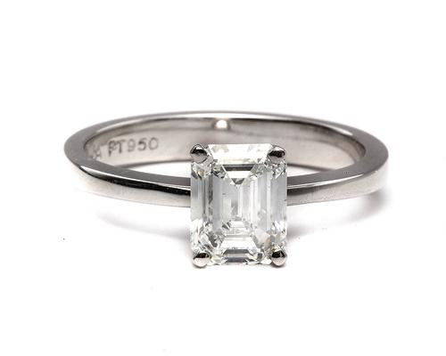 Platinum 1.53 Emerald cut Engagement Ring