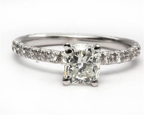 White Gold 1.20 Cushion cut Pave Diamond Ring