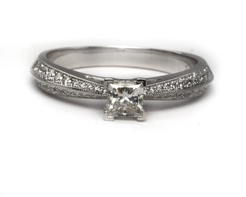 White Gold 0.50 Princess cut Engagement Ring Micro Pave