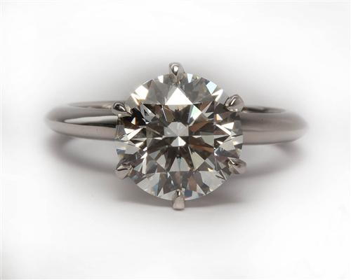 Platinum 3.13 Round cut Diamond Solitaire Engagement Ring