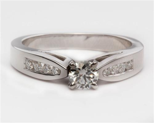 White Gold 0.30 Round cut Princess Cut Engagement Rings With Side Stones