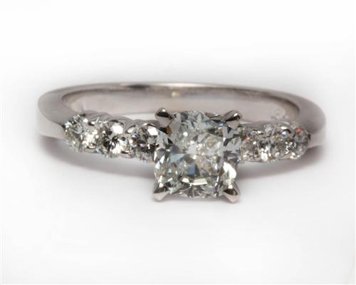 White Gold 1.01 Cushion cut Side Stone Engagement Ring