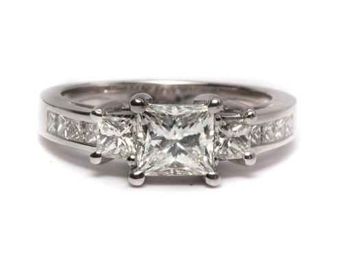 White Gold 1.03 Princess cut Engagement Rings Side Stones