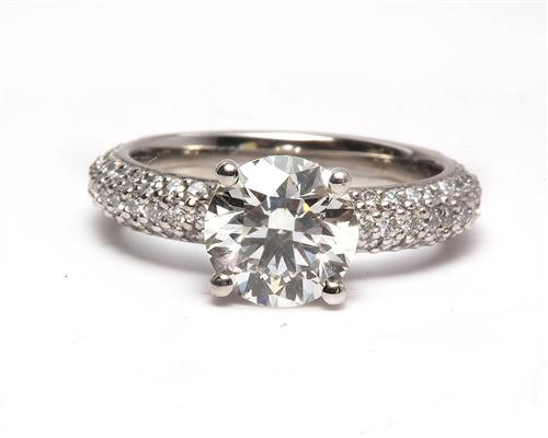 Platinum 1.61 Round cut Pave Rings