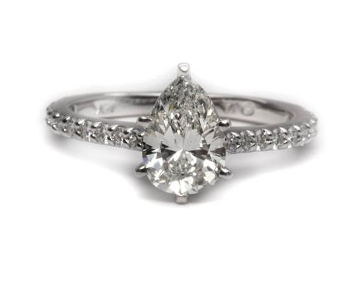 White Gold 1.23 Pear shaped Diamond Ring