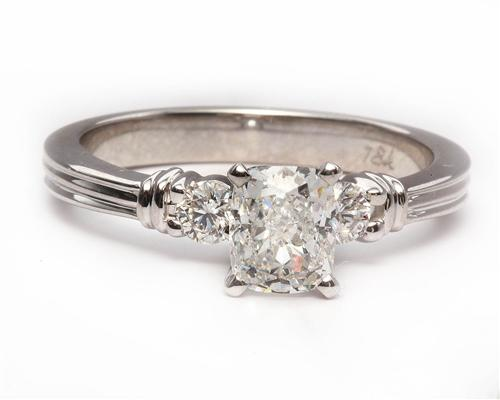 White Gold 1.01 Cushion cut Engagement Rings With Sidestones