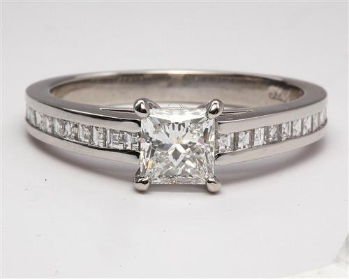 Platinum 0.91 Princess cut Engagement Rings Side Stones