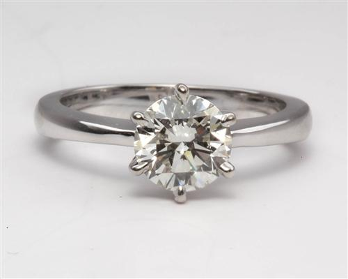 White Gold 1.01 Round cut Diamond Engagement Solitaire Rings