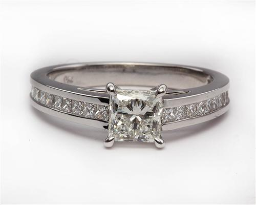 White Gold 0.83 Princess cut Engagement Rings Side Stones