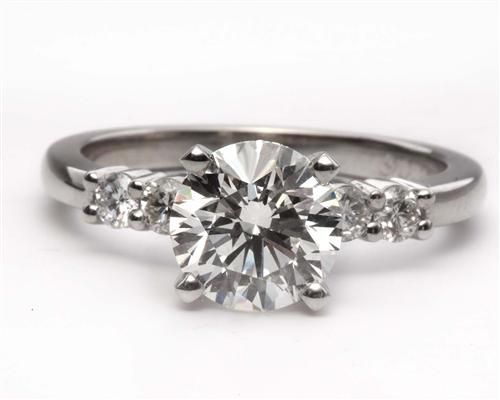 Platinum 1.37 Round cut Side Stone Engagement Ring