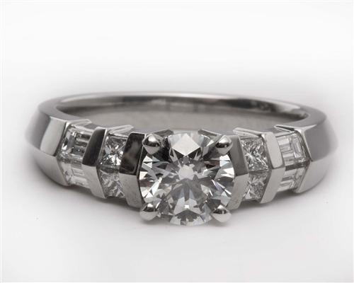 Platinum 0.83 Round cut Side Stone Engagement Ring