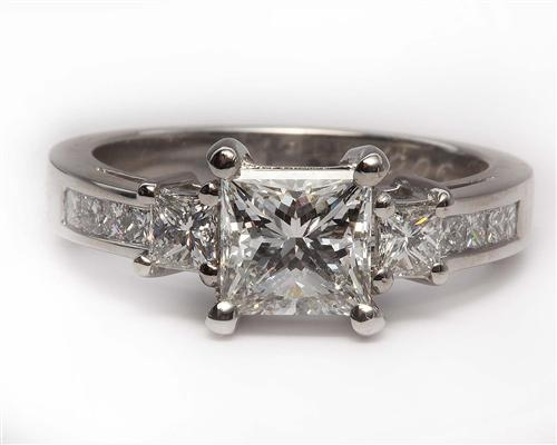 Platinum 1.28 Princess cut Diamond Ring With Sidestones
