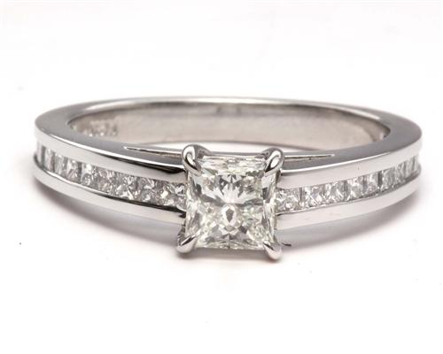 Platinum 0.62 Princess cut Engagement Rings Side Stones
