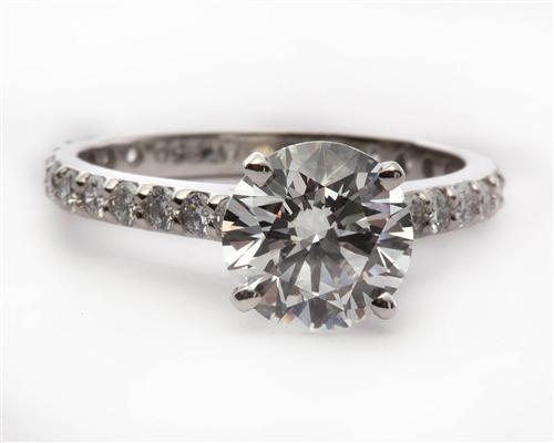 Platinum 2.01 Round cut Engagement Rings Side Stones
